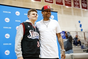 ALLEN IVERSON WITH SIXERS CAMPER