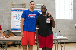 Ben Simmons posing with camper!