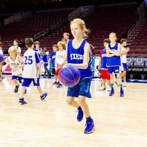 Working on the dribbling up and down the court.