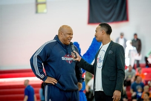 Host Christian Crosby does Q & A with Sixers legend World B. Free.
