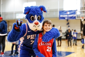 SIXERS TEAM MASCOT, FRANKLIN WITH CAMPER