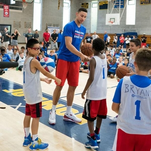 Campers meeting Ben Simmons for the first time at Valley Forge!