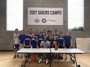 Jahlil Okafor with campers from Iceland