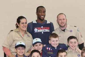 Tony Wroten with a group of Boy Scouts that made it out to practice.