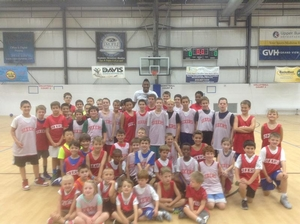 Robert Covington visits with campers at BucksMont Sports.