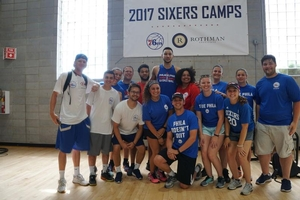 Ben Simmons with camp interns