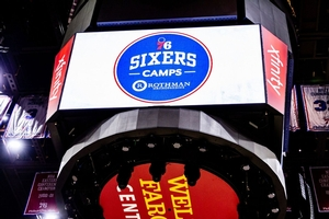 Sixers Camps up on the jumbotron