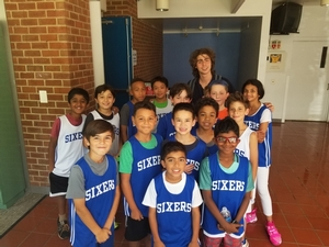 Group photo of our Sixers day campers