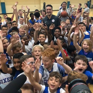 76er, Landry Shamet speaks at the Sixers day camps.