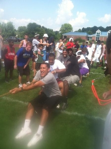 Coaches vs Campers in tug of war